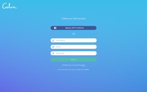 Screenshot of Trial Page calm.com - Calm - Unlock your free trial - captured April 16, 2018