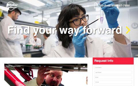 Screenshot of Landing Page baker.edu - Health Sciences – Discover Baker College - captured June 2, 2017