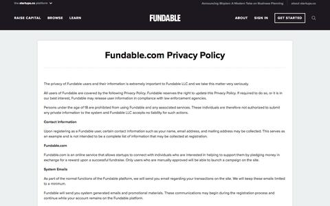 Screenshot of Privacy Page fundable.com - Privacy Policy | Fundable - captured April 1, 2018