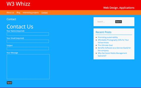 Screenshot of Contact Page w3whizz.com - Contact - W3 Whizz - captured April 12, 2016