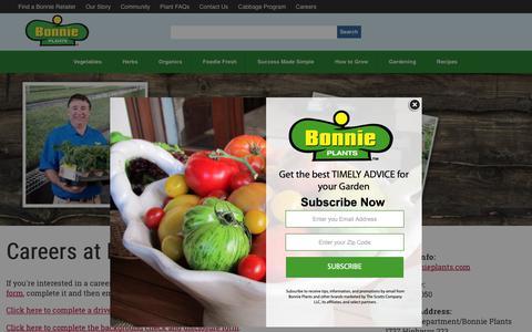 Screenshot of Jobs Page bonnieplants.com - Careers - Bonnie Plants - captured Oct. 6, 2018