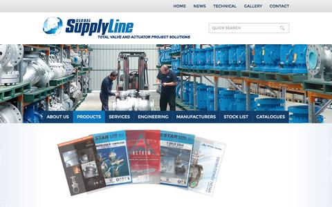 Screenshot of Products Page globalsupplyline.com.au - Supplier ANSI Flange Valves Ball Check Gate Globe Stockist | Global Supply Line - captured Dec. 10, 2015