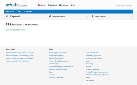 Screenshot of Jobs Page intuit.com - Search for careers at Intuit – Intuit Careers - captured July 22, 2017
