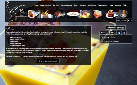 Screenshot of Home Page tafchef.com - TAF Catering and Personal Chef Services - captured Oct. 7, 2014