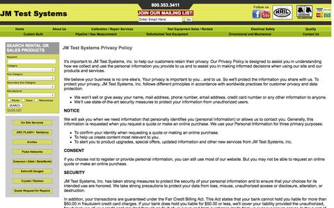 Screenshot of Privacy Page jmtestsystems.com - JM Test Systems :: Lab Accreditation - captured Oct. 4, 2014