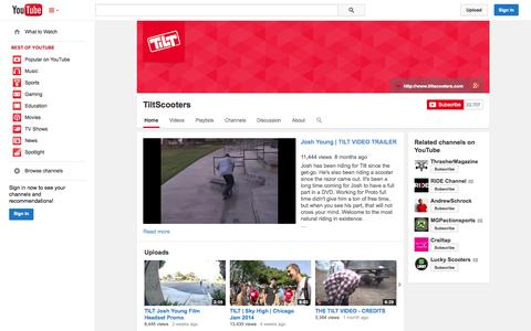 Screenshot of YouTube Page youtube.com - TiltScooters  - YouTube - captured Oct. 26, 2014