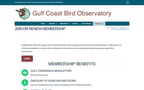 Screenshot of Signup Page gcbo.org - Join or Renew Membership - Gulf Coast Bird Observatory - captured Sept. 30, 2018
