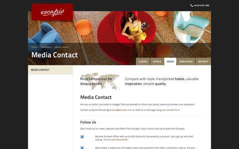 Screenshot of Press Page escapio.com - Media Contact | Escapio Corp - captured Sept. 29, 2018