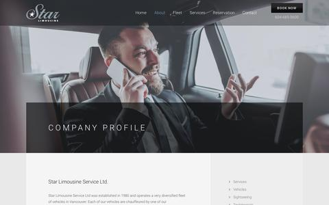 Screenshot of About Page starlimousine.com - Star Limousine Service Company Profile - Vancouver, BC - captured Oct. 18, 2018