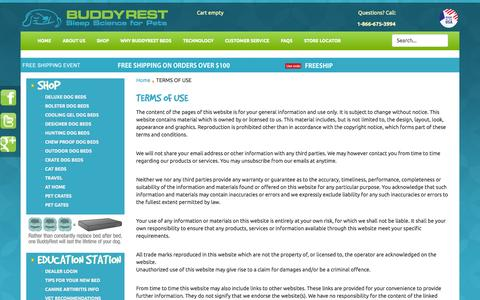 Screenshot of Terms Page buddyrest.com - BuddyRest - TERMS OF USE - captured Oct. 5, 2014