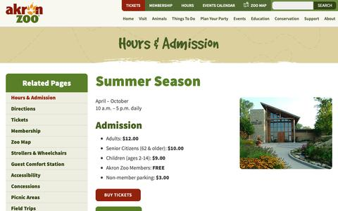 Screenshot of Hours Page akronzoo.org - Akron Zoo Hours & Admission - Holiday and Seasonal Hours - captured Oct. 3, 2018