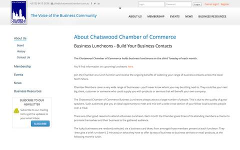 Screenshot of About Page chatswoodchamber.com.au - About Chatswood Chamber of Commerce - captured Oct. 2, 2014