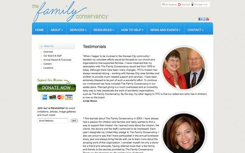 Screenshot of Testimonials Page thefamilyconservancy.org - Testimonials - captured Oct. 7, 2014