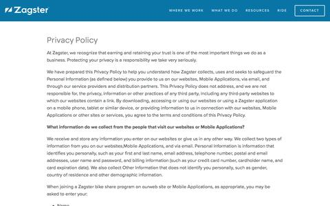 Privacy Policy — Zagster