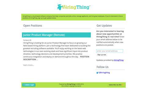 Screenshot of Jobs Page hiringthing.com - HiringThing Career Opportunities - captured July 12, 2018