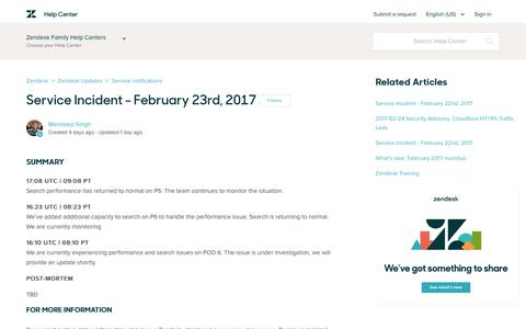 Screenshot of Support Page zendesk.com - Service Incident - February 23rd, 2017 – Zendesk - captured Feb. 27, 2017
