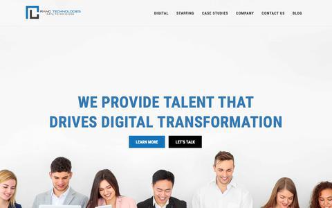 Screenshot of Home Page rangtech.com - Home | Rang Technologies - captured Oct. 20, 2018