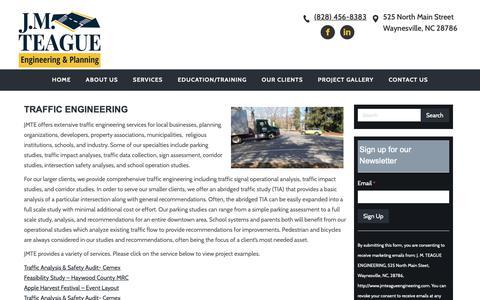 Screenshot of Developers Page jmteagueengineering.com - J.M. Teague Traffic Engineering & Planning - captured Oct. 1, 2018