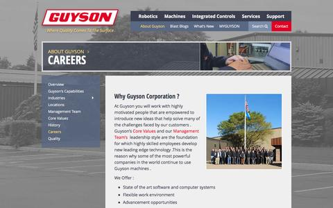 Screenshot of Jobs Page guyson.com - Careers | Guyson - captured Feb. 2, 2016