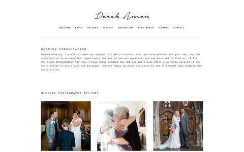 Screenshot of Pricing Page derekanson.com - Pricing — wedding photographer essex - captured Nov. 13, 2018