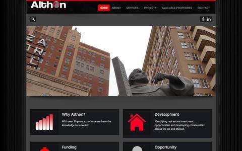 Screenshot of Home Page althoninvestments.com - Althon Investments, LLC. - captured Sept. 30, 2014