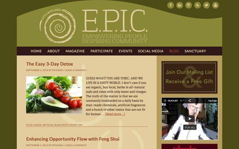 Screenshot of Blog epicmag.org - Blog - E.P.I.C. Empowering People, Inspiring Community Conscious Living Magazine - captured Oct. 1, 2014