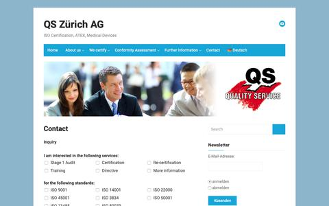 Screenshot of Contact Page quality-service.ch - Contact – QS Zürich AG - captured Sept. 29, 2018