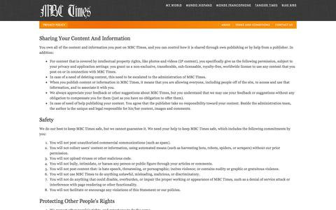 Screenshot of Privacy Page mbctimes.com - Privacy policy — MBC Times - captured Feb. 12, 2016