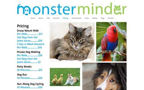 Screenshot of Pricing Page monsterminder.com - Monster Minder Pet sitting in Ajax Whitby Brooklin Oshawa Ontario - captured Nov. 21, 2016