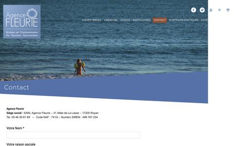 Screenshot of Contact Page agence-fleurie.com - Contact | Agence Fleurie - captured July 25, 2016
