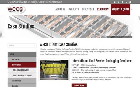 Screenshot of Case Studies Page wecointernational.com - Case Studies - WECO International - captured Sept. 20, 2018