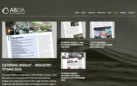 Screenshot of Press Page abdadesign.co.uk - Commercial Kitchen Design | ABDA Creative Design & Build - captured Nov. 2, 2014