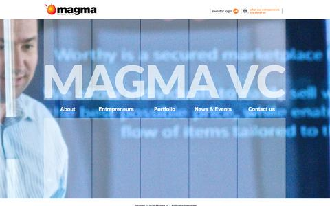Screenshot of Home Page magmavc.com - Home - Magma VC - captured Feb. 4, 2016