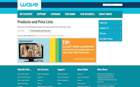 Screenshot of Pricing Page wavebroadband.com - Cable TV, Internet, Phone Services Price Lists | Wave Broadband - captured May 4, 2017