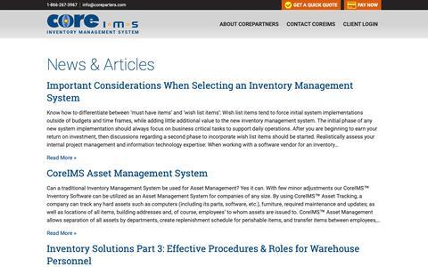 Screenshot of Blog coreims.com - CoreIMS™ - Inventory Management System for Government & Independent Businesses - captured Sept. 29, 2018