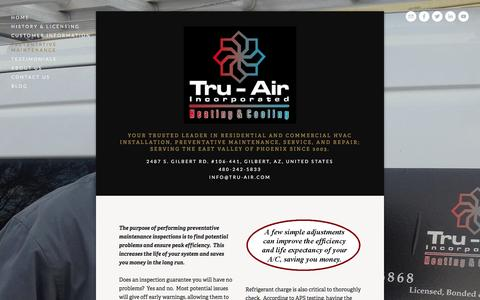 Screenshot of Services Page tru-air.com - Preventative Maintenance — Tru-air, Inc. - captured Feb. 27, 2016