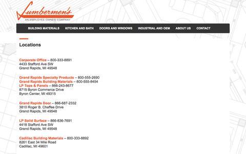 Screenshot of Locations Page lumbermens-inc.com - Locations - Lumbermen's, Inc. - captured May 22, 2017