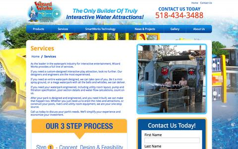Screenshot of Services Page wizardworks.biz - Waterpark Services | Water Attractions | Wizard Works - captured Nov. 4, 2014