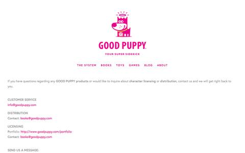 Screenshot of Contact Page goodpuppy.com - GOOD PUPPYGOOD PUPPY® CONTACT — Children Behavioral and Emotional Tools - captured July 16, 2016