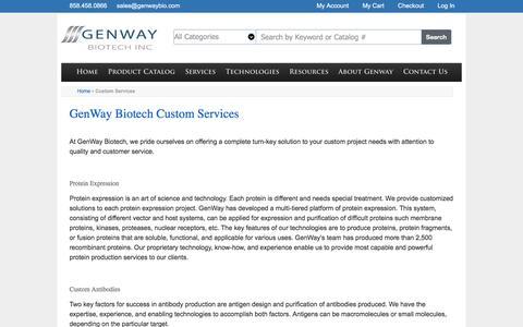 Screenshot of Services Page genwaybio.com - Custom Services - captured Nov. 4, 2016