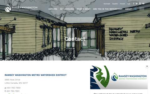 Screenshot of Contact Page rwmwd.org - Contact - Ramsey-Washington Metro Watershed District - captured Oct. 18, 2018