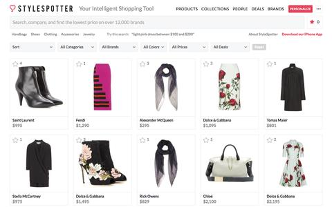 Screenshot of Products Page stylespotter.com - StyleSpotter - Your Intelligent Shopping Tool - captured Oct. 19, 2016