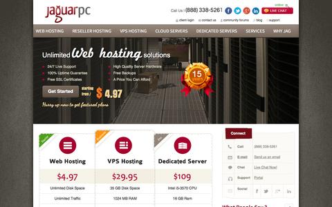 Screenshot of Home Page jaguarpc.com - Web Hosting | VPS Hosting | Reseller web hosting | Dedicated Servers with JaguarPC - captured Jan. 22, 2015