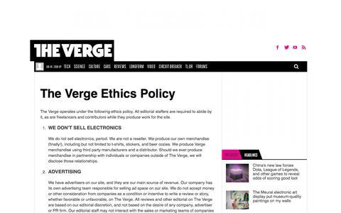 Ethics Statement | The Verge