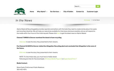 Screenshot of Press Page alpinewaste.com - In the News - Alpine   Waste & Recycling - captured Oct. 8, 2017