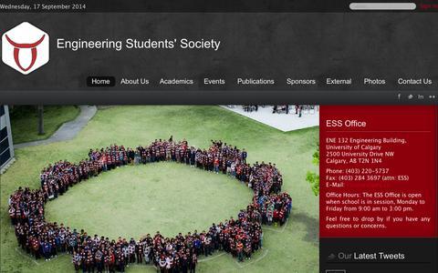 Screenshot of Contact Page ucalgary.ca - ESS - Home - captured Sept. 18, 2014