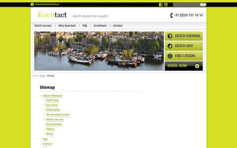 Screenshot of Site Map Page koentact.nl - Sitemap - Koentact | Dutch courses for expats in Amsterdam - captured Sept. 30, 2014
