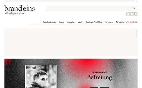 Screenshot of Home Page brandeins.de - Startseite - brand eins online - captured Jan. 14, 2016