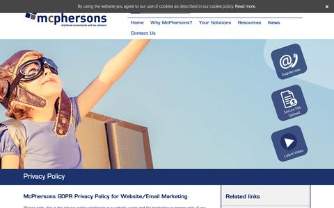 Screenshot of Privacy Page mcphersons.co.uk - Privacy Policy - McPhersons: Chartered Accountants in Bexhill and Hastings - captured Oct. 19, 2018