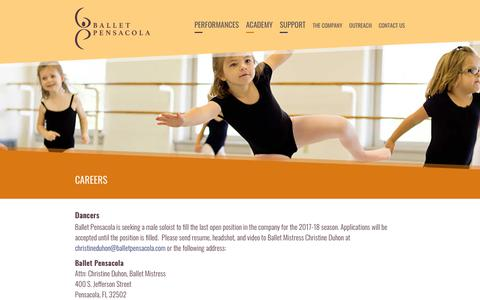 Screenshot of Jobs Page balletpensacola.com - Ballet Pensacola - captured Nov. 1, 2018